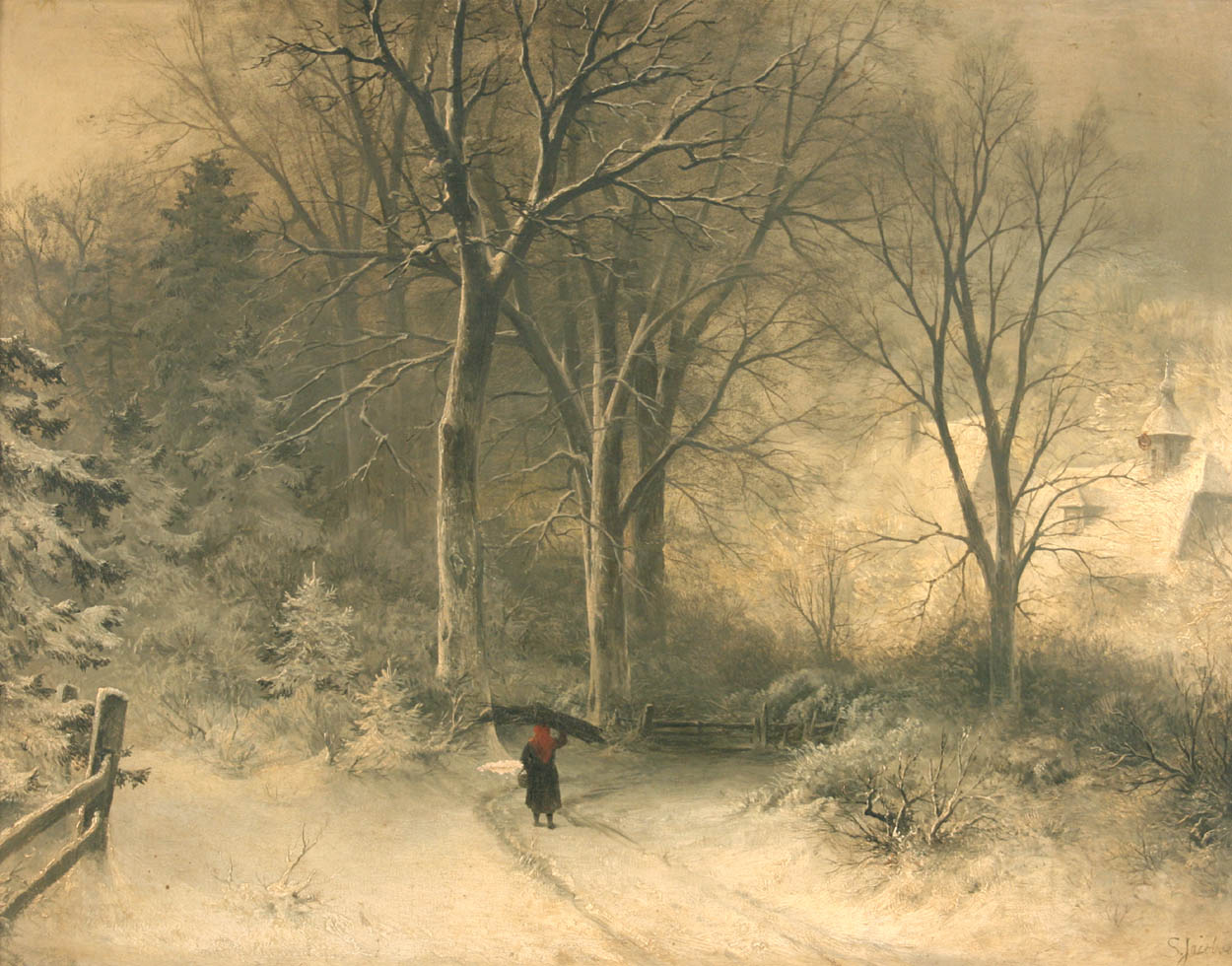 jacobsen 1833 1912 figure carrying wood within a snowy landscape