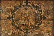 A 17th Century fine needlepoint, stumpwork and appliqué panel with an oval reserve of a lady and gentleman within an Eastern landscape with a camel and fountains, a palace in the distance, emblematic of the Queen of Sheba and attendant, all contained within a stylized garden with lion, stag, rabbit, dog and insects, worked in a variety of stitches and finishes, including gilt and purlwork, chenille and silk threads, on a cream satin ground, approx 33cm x 49cm, within a faux tortoiseshell moulded frame.