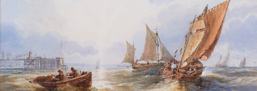 Charles Bentley - 'Off Brighton' (Seascape with Fishing Vessels off the Chain Pier), 19th century watercolour, signed, 30.5cm x 50cm, within a titled mount and gilt frame