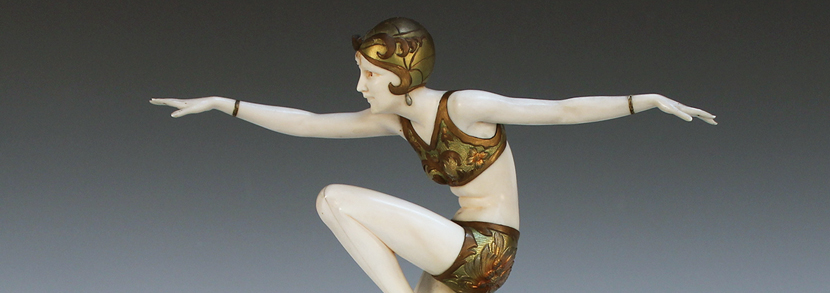 Ferdinand Preiss - Con Brio, circa 1925, an Art Deco polychrome cold painted cast bronze and carved ivory figure of a dancer