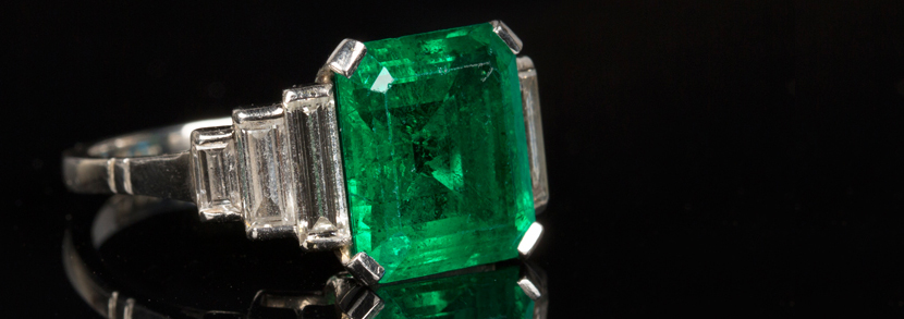 A platinum, emerald and diamond ring circa 1950s Hammer price: �5,000