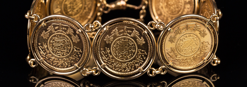 Seven Saudi Arabia gold guineas mounted as a bracelet Hammer price: £1,500