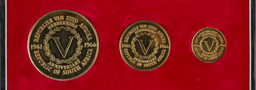 South Africa gold three-coin set commemorating the 'Fifth Anniversary of the Republic of South Africa 1961-1966'