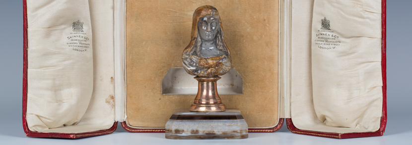 19th century hardstone head and shoulders portrait bust of a classical maiden