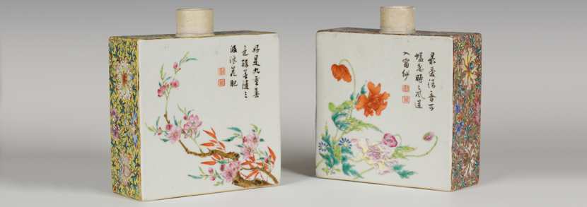 A pair of Chinese famille rose enamelled porcelain rectangular tea caddies, Qing dynasty