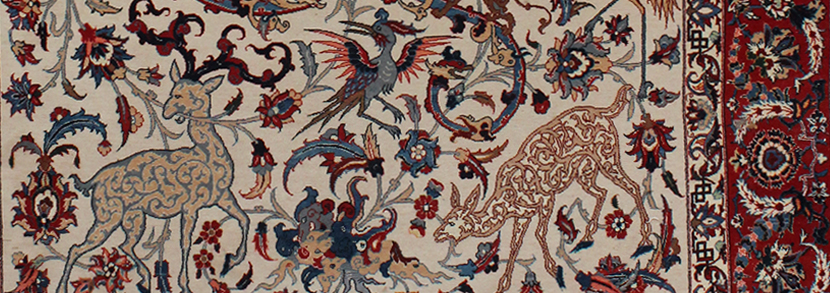 Esfahan part silk rug, Central Persia, late 20th Century