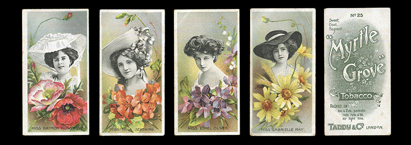 A set of 25 Taddy 'Actresses with Flowers' cigarette cards, circa 1899.