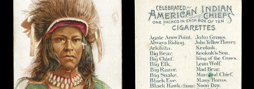 A set of 50 Allen & Ginter 'Celebrated American Indian Chiefs' cigarette cards, circa 1888.