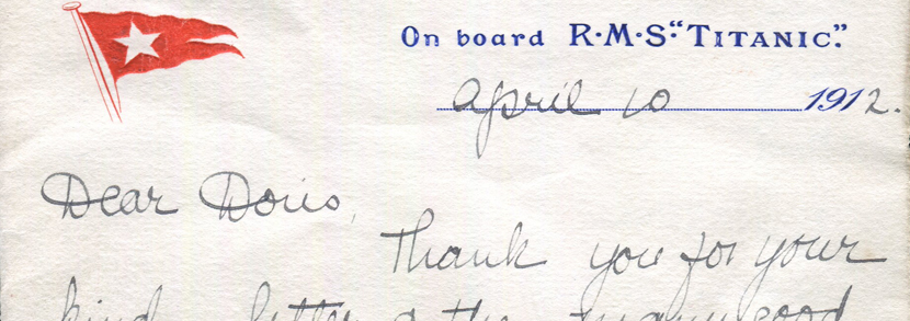An interesting a.l.s from Madill addressed 'Dear Doris' on White Star 'On board R.M.S. Titanic' headed paper