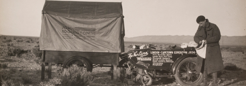 A collection of approximately 66 glass slides of Theresa Wallach and Florence Blenkiron and their pioneering first crossing of Africa on motorcycle in 1934-35