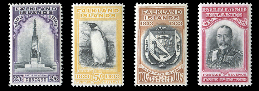 A Falkland Island 1933 Centenary set of twelve stamps, ½d to £1, fine mint.