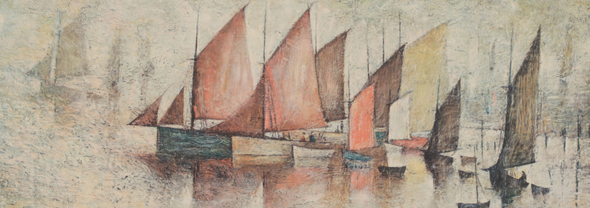 L.S Lowry - Sailing Boats, late 20th Century colour print, signed in pencil, approx 32cm x 36cm, within a partially gilt frame.