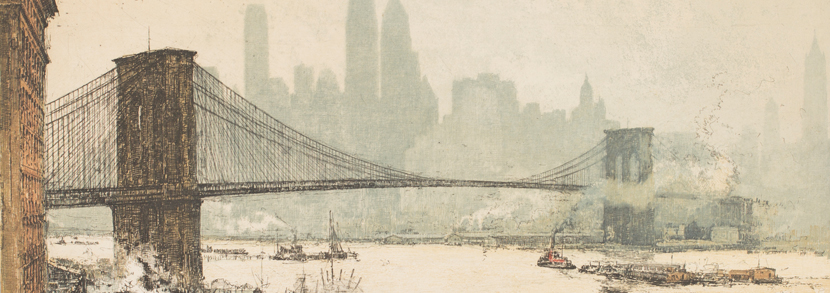 Luigi Kasimir Brooklyn Bridge colour etching Hammer price: £550