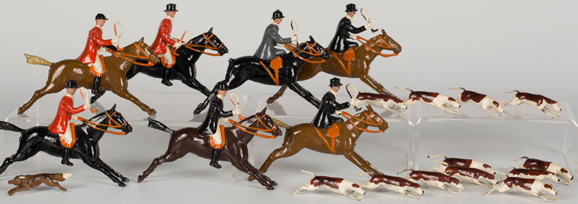 small collection of Britains hunting figures