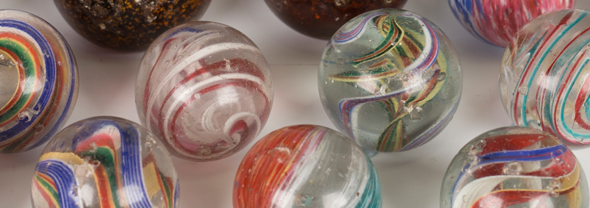 Seventeen large glass marbles
