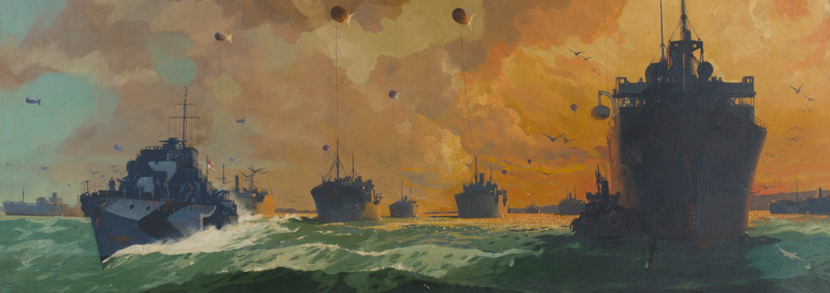 Leslie Carr Royal Navy Ships, oil on canvas