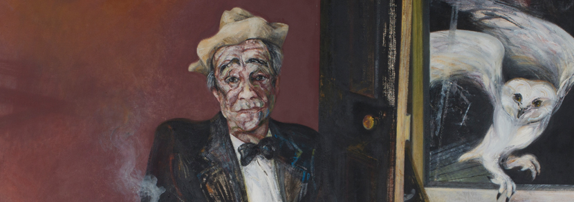 Maggi Hambling - 'Max Sitting' (Full Length Portrait of Max Wall), oil on canvas, signed, dated 1982