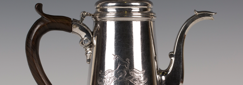 A George II silver coffee pot by Pentecost Symonds Hammer price: £3,000