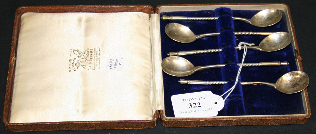 A set of five Russian silver spoons, 84 zolotnik, each bowl