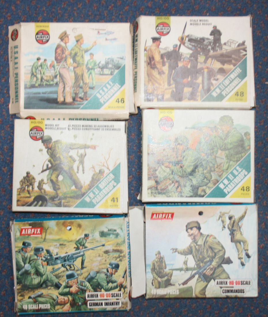A small collection of Airfix plastic HO/OO scale military