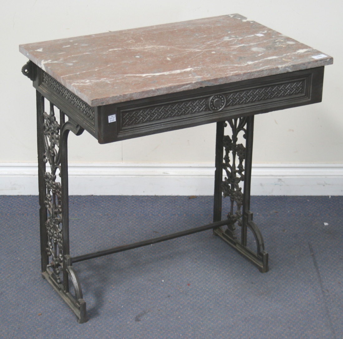 A Late Victorian Cast Iron Sink Stand Fitted With A Later Rouge Marble Top,  The Base With Cast Folia