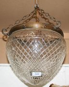 An early/mid-20th Century cut glass ceiling light with diamond cut decoration, height approx 27cm.