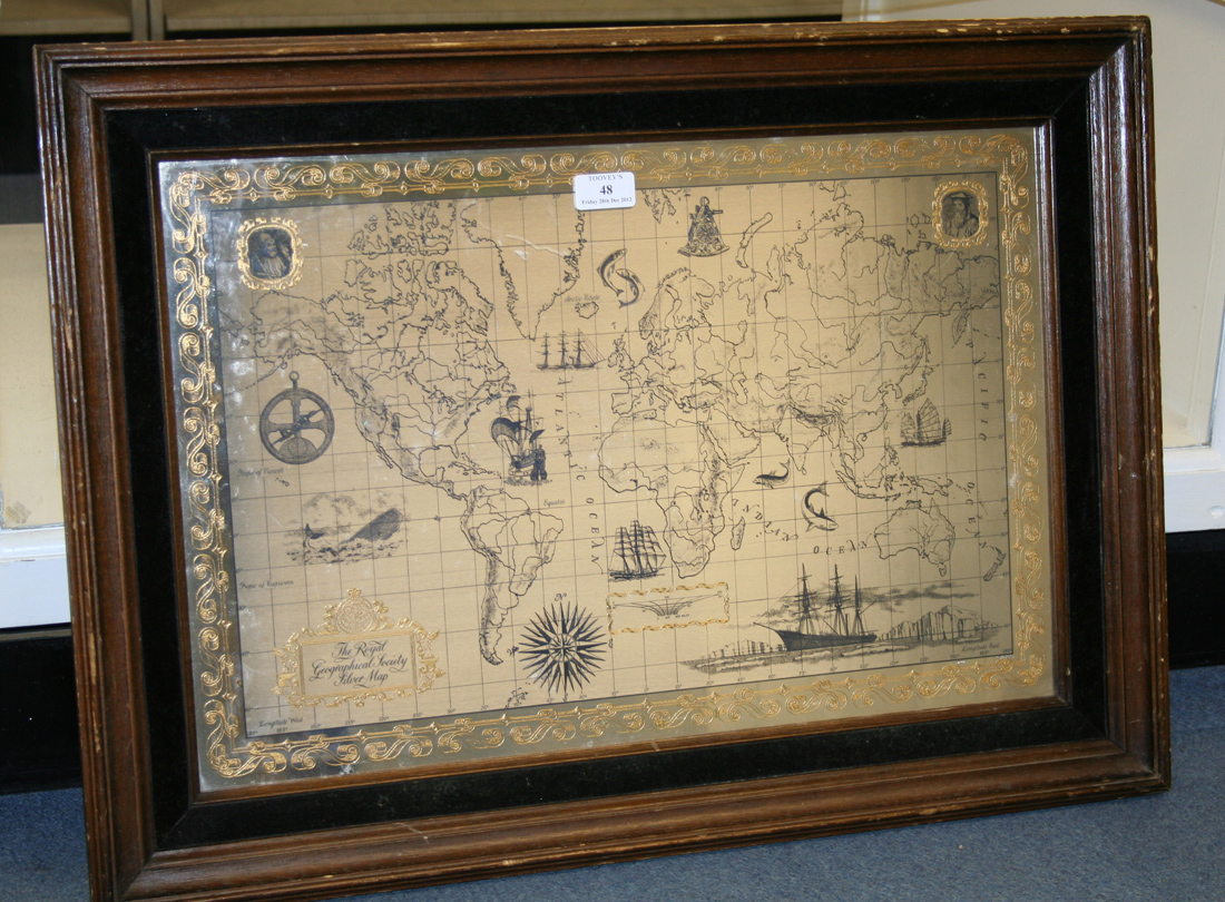 A Royal Geographical Society Silver Map Of The World
