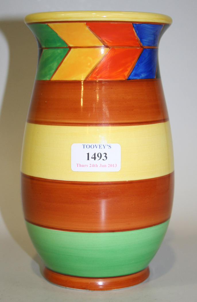 An Art Deco Crown Ducal Ware Vase Of Gently Swollen Shape Decorated