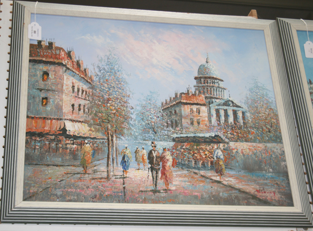Burnet - Paris Street Scenes, a pair of oils on canvas, both signed