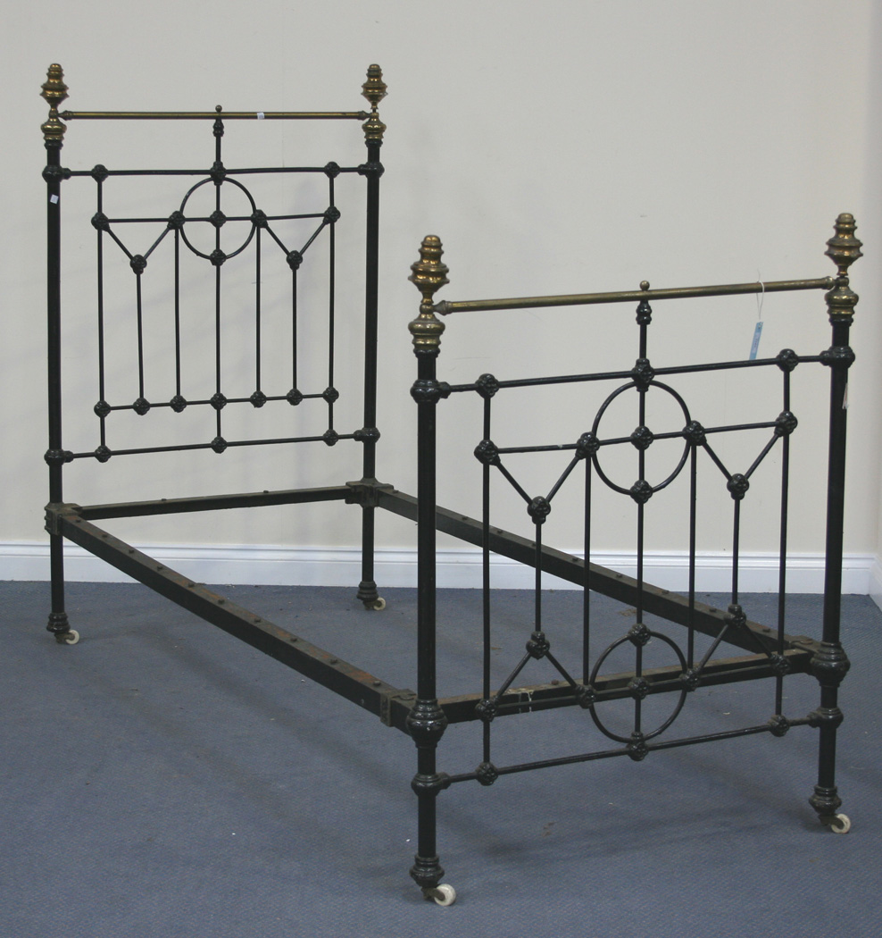 A Late Victorian Black Painted Cast Iron And Brass Mounted Single Bed Width Approx 90cm