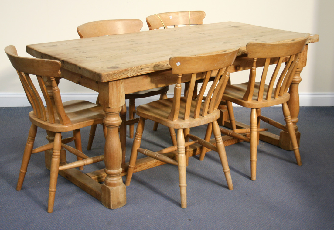 a 20th century pine kitchen table length approx 166cm