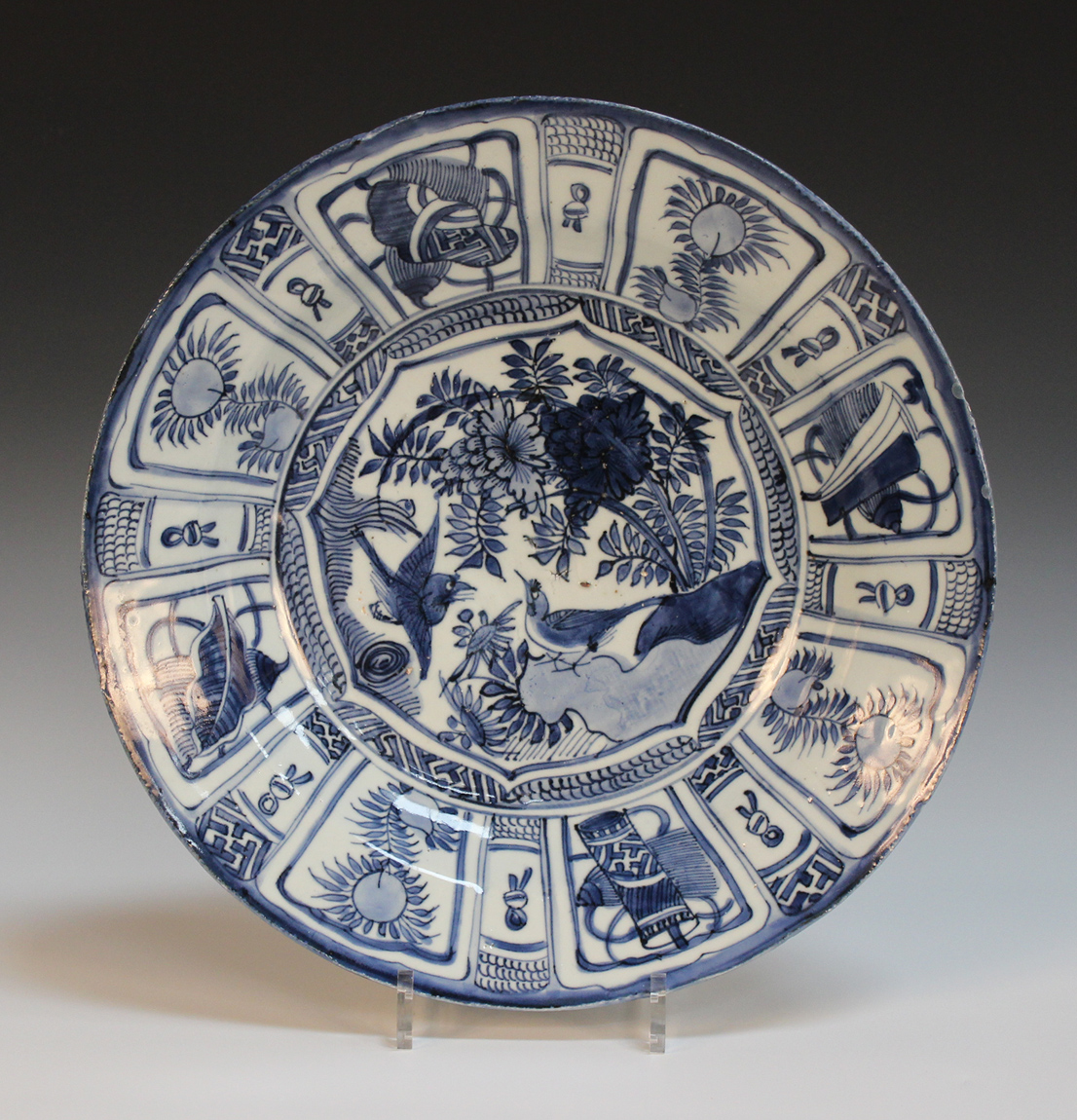 A Chinese blue and white Kraak porcelain dish, late Ming dynasty