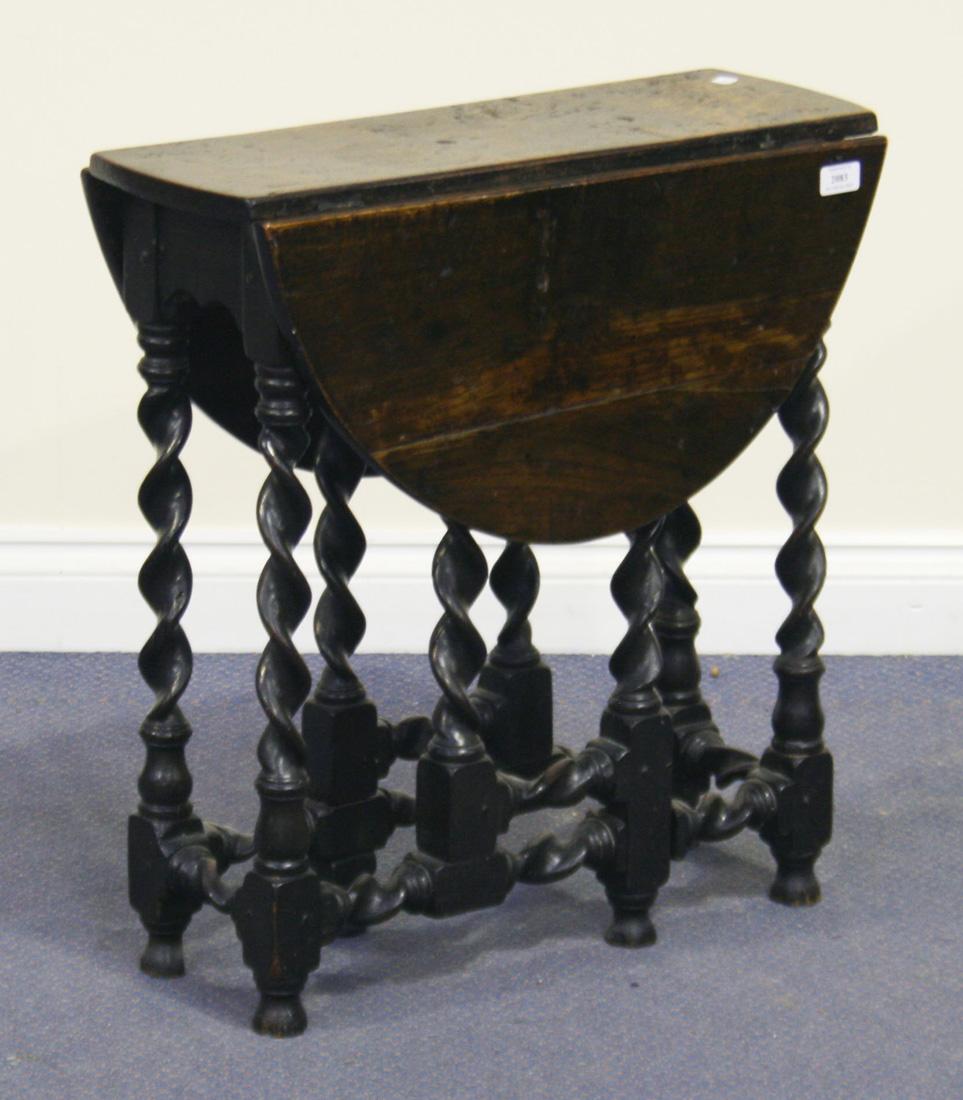 a victorian carolean revival oak drop flap occasional table the
