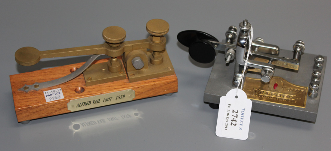 A Vibroplex single paddle Morse key and a working reproduction of an