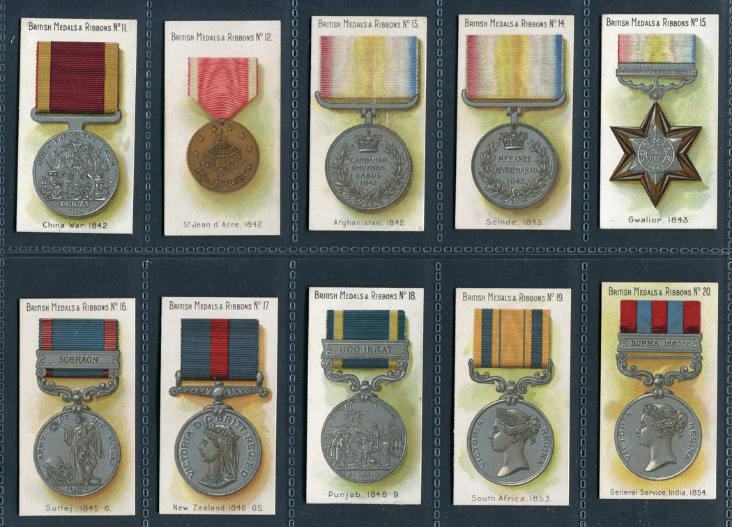 A set of 50 Taddy 'British Medals & Ribbons' cigarette cards, circa
