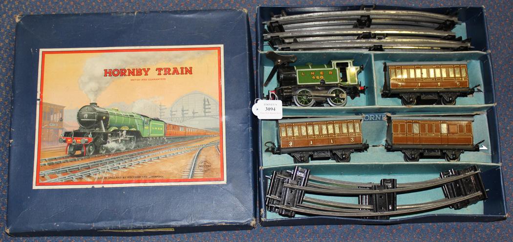 A Hornby Trains gauge O clockwork LNER passenger train set