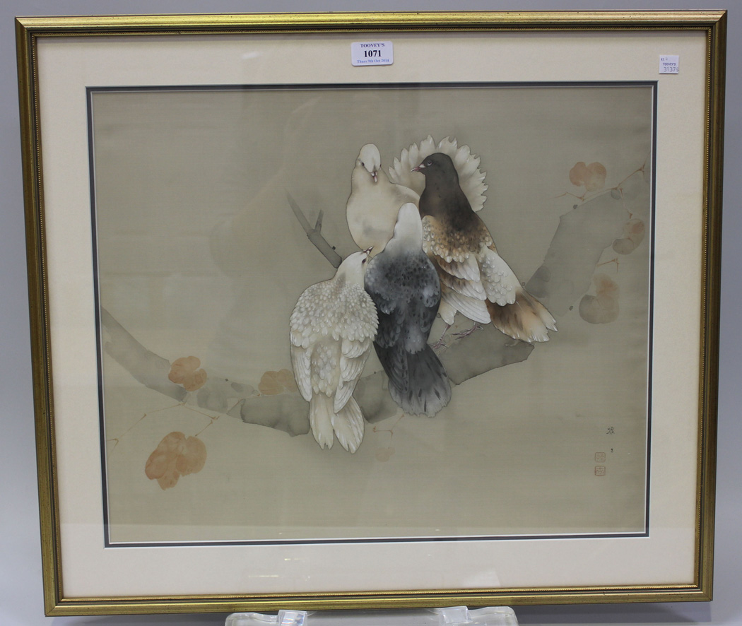 A Japanese painting on silk, 20th Century, depicting four