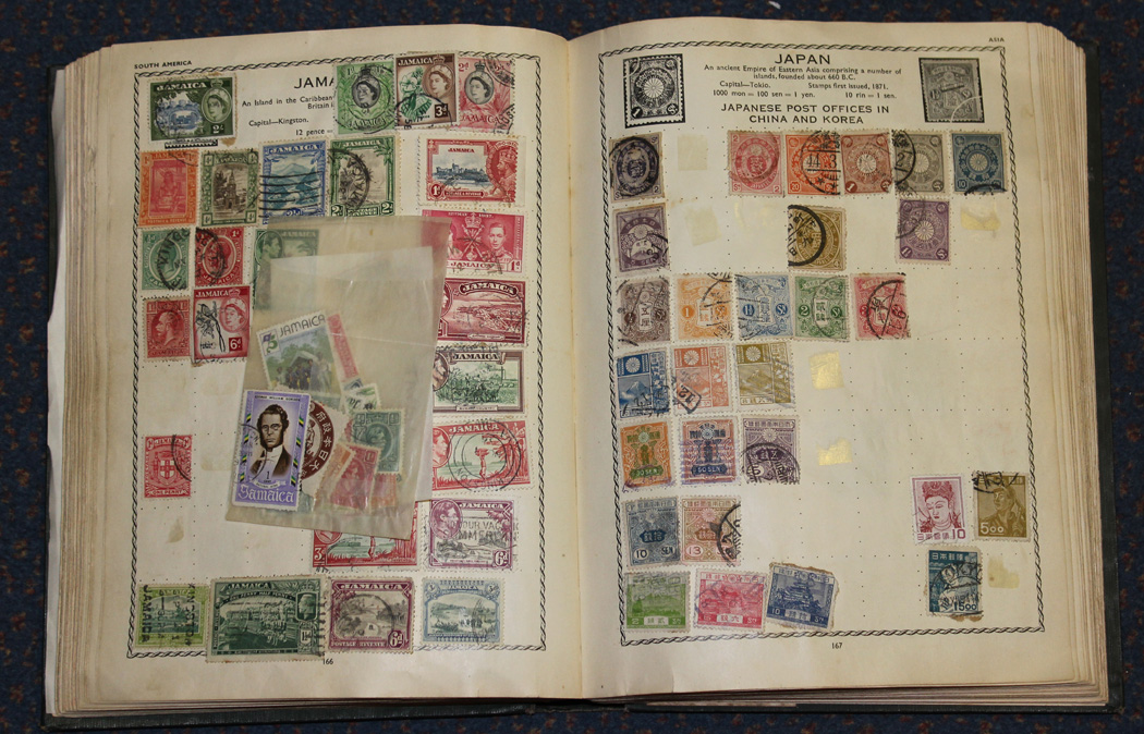 A Large Collection Of Stamps Including Three Ideal Albums