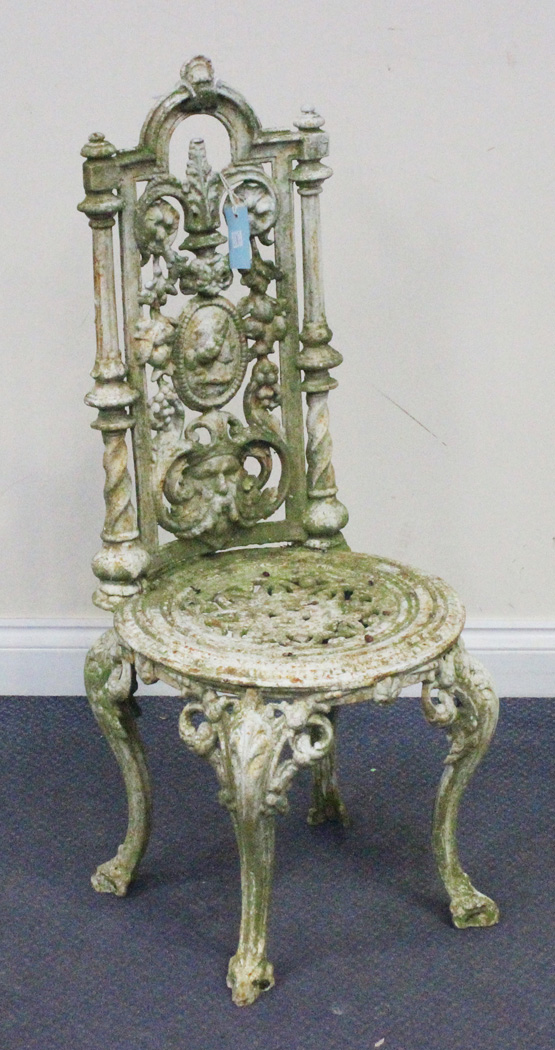 A Victorian White Painted Cast Iron Garden Chair Possibly By Coalbrookdale The Foliate Scroll Back