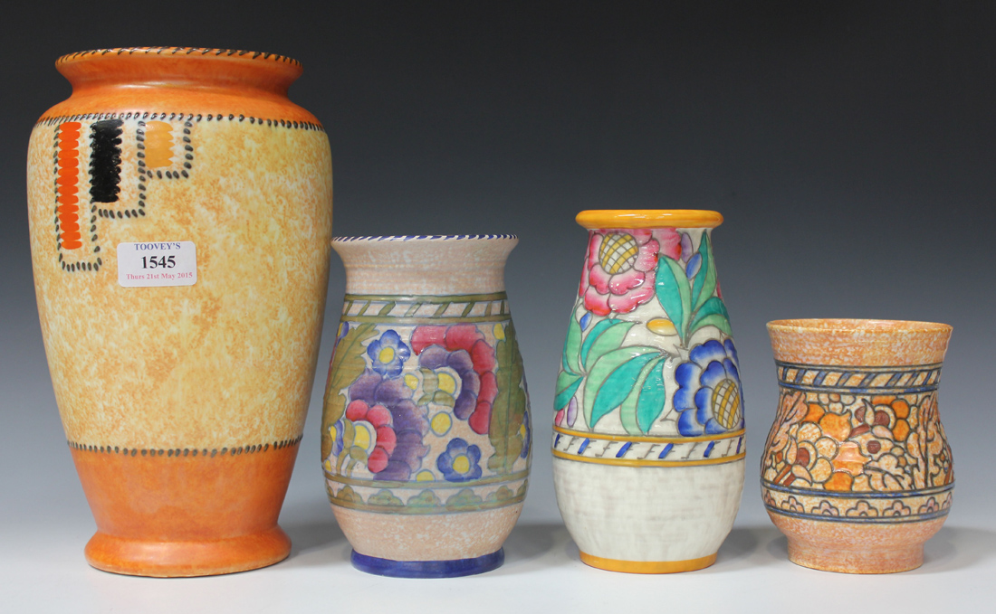 Four Crown Ducal Charlotte Rhead Pottery Vases 1930s Comprising A