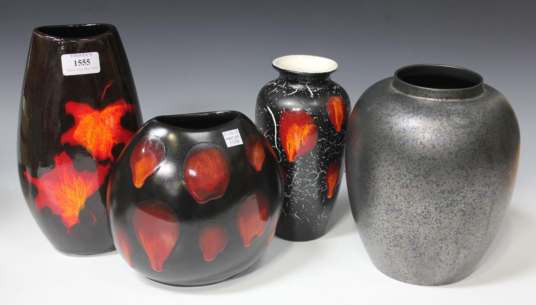 A Poole Pottery Galaxy Living Glaze Vase Modern Of Flattened Ovoid