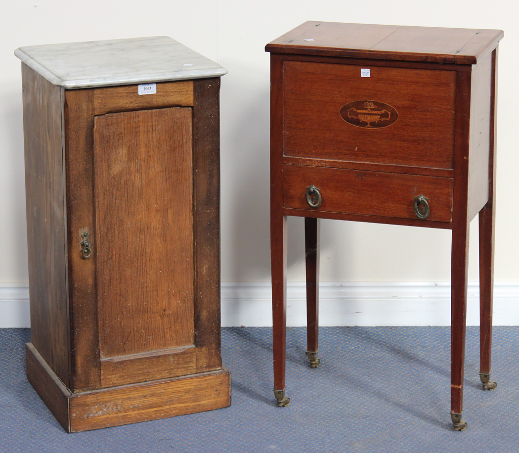 A Late Victorian Ash Bedside Cabinet With White Marble Top Width Rox 36cm Together 19t