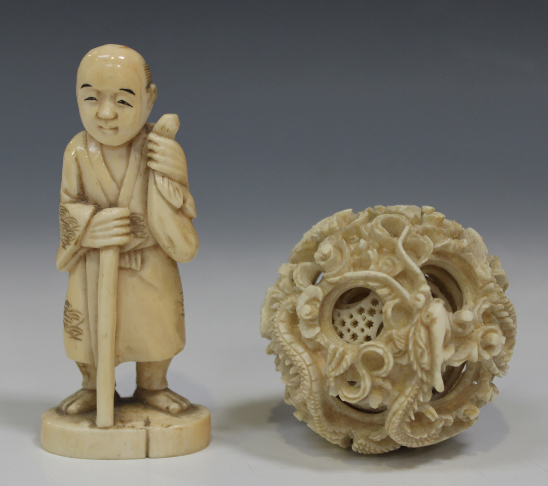 A chinese canton export ivory concentric puzzle ball late