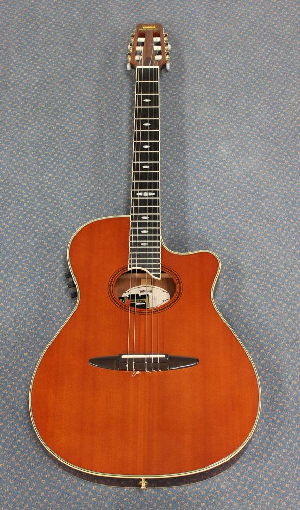 A Yamaha Electro Acoustic Classical Guitar Bearing Interior Label