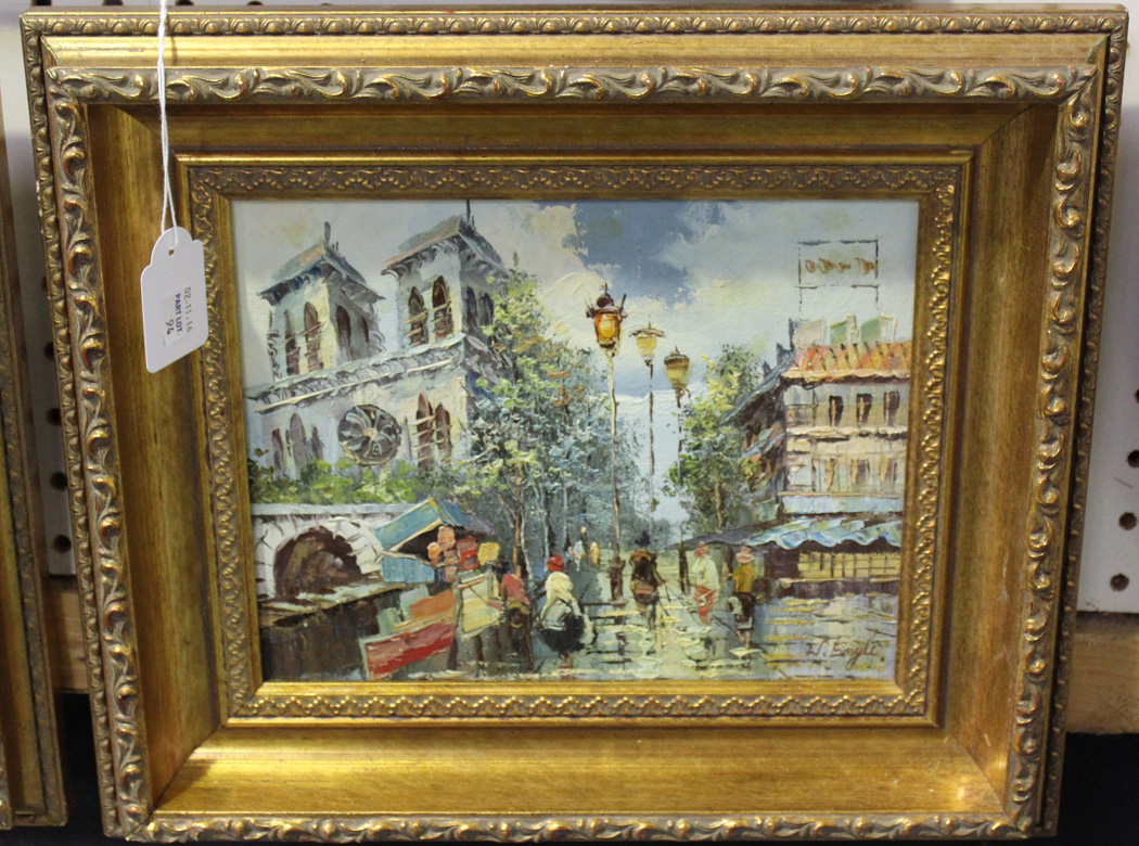 Burnett - Paris Street Scenes, a pair of oils on canvas-board, both