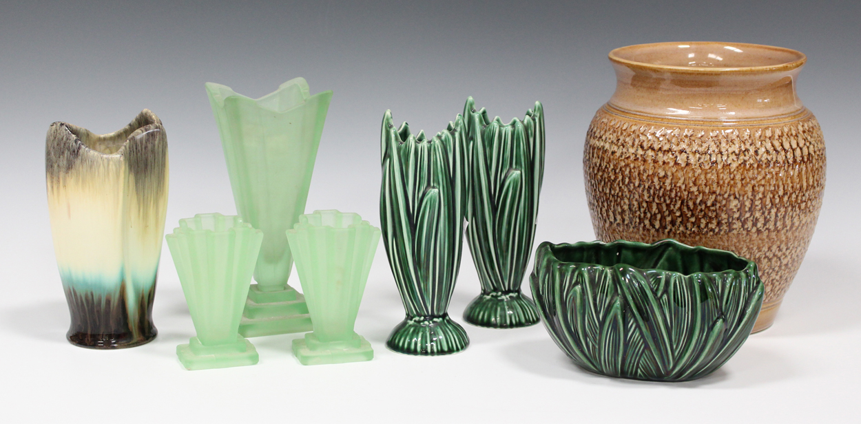 A Pair Of Sylvac Green Glazed Hyacinth Pottery Vases And A Matching