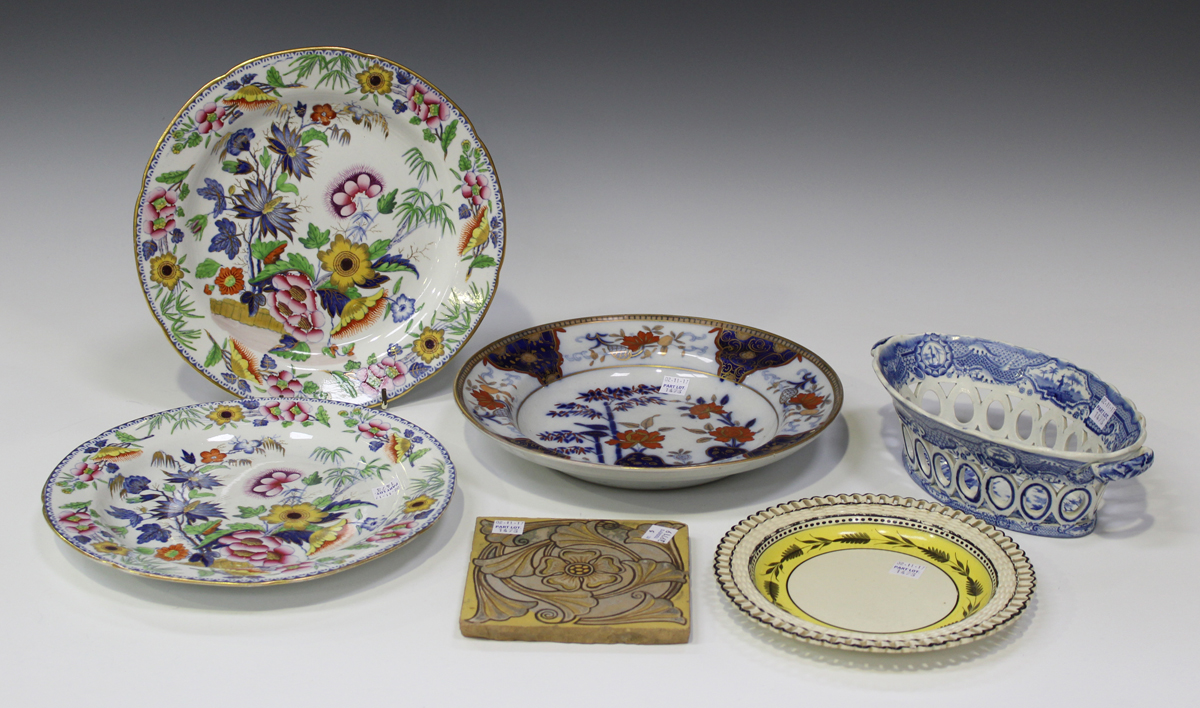 A pair of Britannicus Dresden china ironstone type dinner plates circa 1820 decorated with polychr & A pair of Britannicus Dresden china ironstone type dinner plates ...