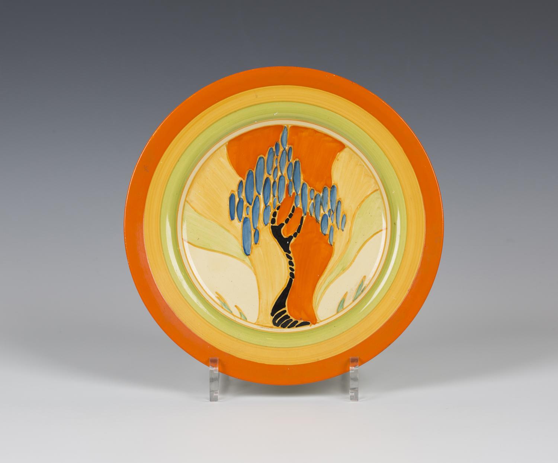 A Clarice Cliff Fantasque Windbells pattern circular plate, printed