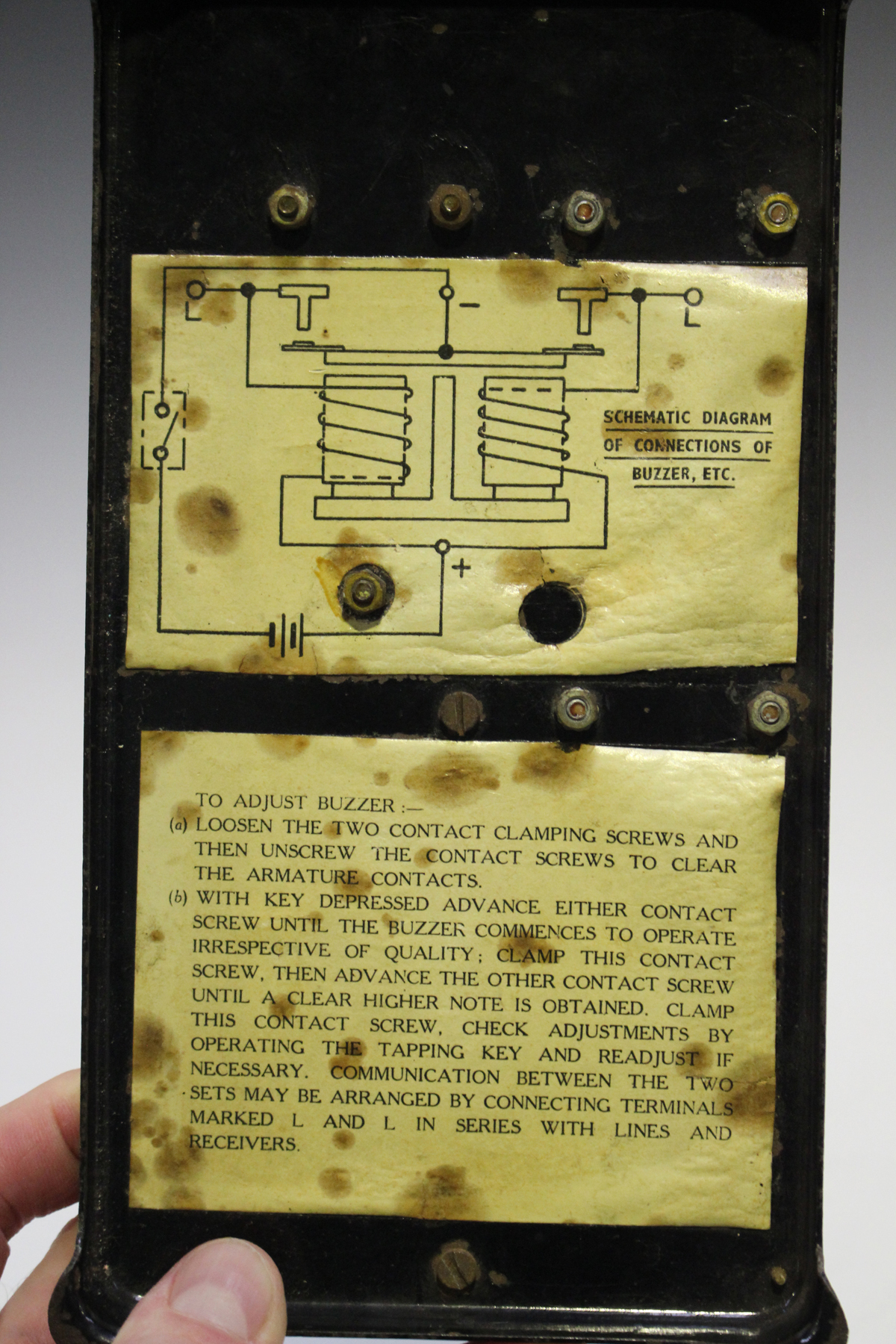 A Second World War Period Morse Code Buzzer Signal Training Set On Electronic Circuit Diagram Plinth Base With Outswept Feet