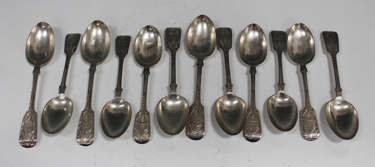 a set of six silver dessert spoons and matching. Black Bedroom Furniture Sets. Home Design Ideas